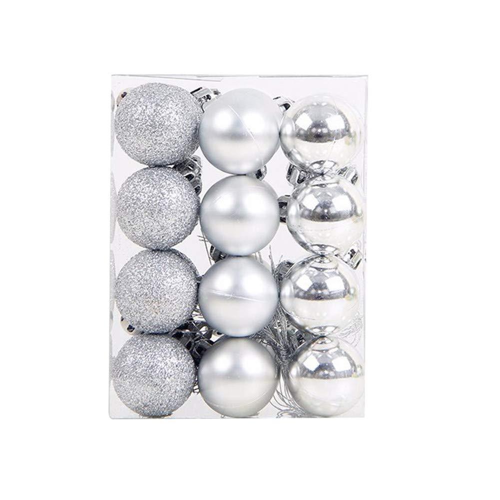 Cosanter Pallina di Natale in Plastica Ciondolo Decorazione Albero di Natale, 24 Pezzi/Set, per Decorazioni Natalizie(Arancione)