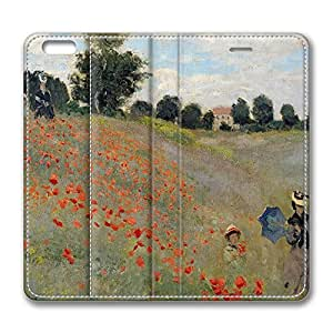 iPhone 6 Leather Case, Personalized Protective Flip Case Cover Wild Poppies for New iPhone 6