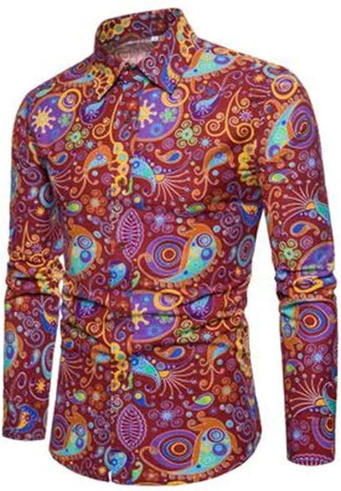 Camisa de algodón Puro de Manga Larga para Hombre Camisa de Vestir para Hombre Estampado 18 XL: Amazon.es: Ropa y accesorios
