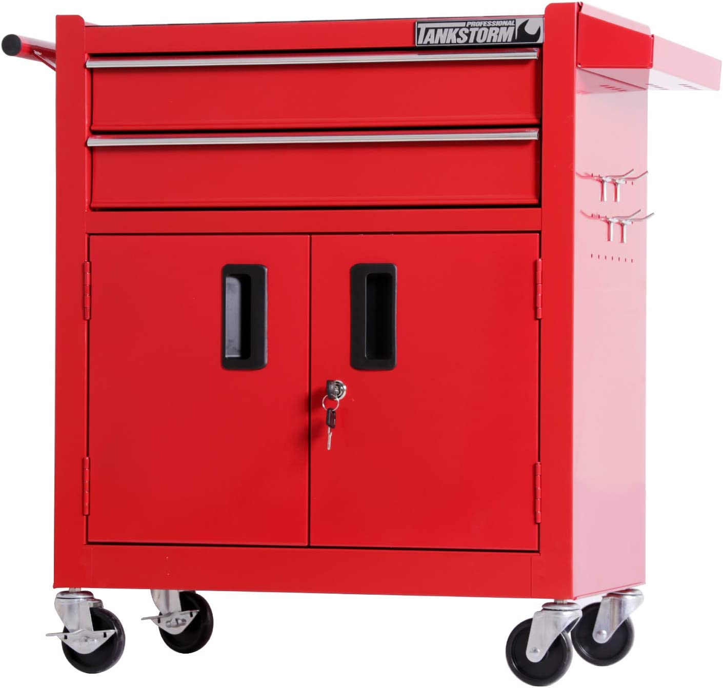 TANKSTORM Tool Chest Heavy Duty Cart Steel Rolling Tool Box with Lockable Doors (TZ12 Red)