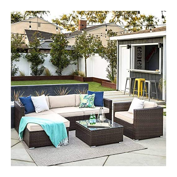 OAKVILLE FURNITURE 61106 6-Piece Outdoor Patio Furniture Rattan Sectional Sofa Conversation Set Brown Wicker, Beige Cushion - Proudly Made in U. S. A. Cushions and imported body frame with 1-year us based Manufacture . Outdoor FURNITURE set features four patio sofa chairs, ottoman and coffee Table with modular design. Easily reconfigurable to various layouts and enough room to seat 4-5 adults comfortably. - patio-furniture, patio, conversation-sets - 61h4jVYLlrL. SS570  -