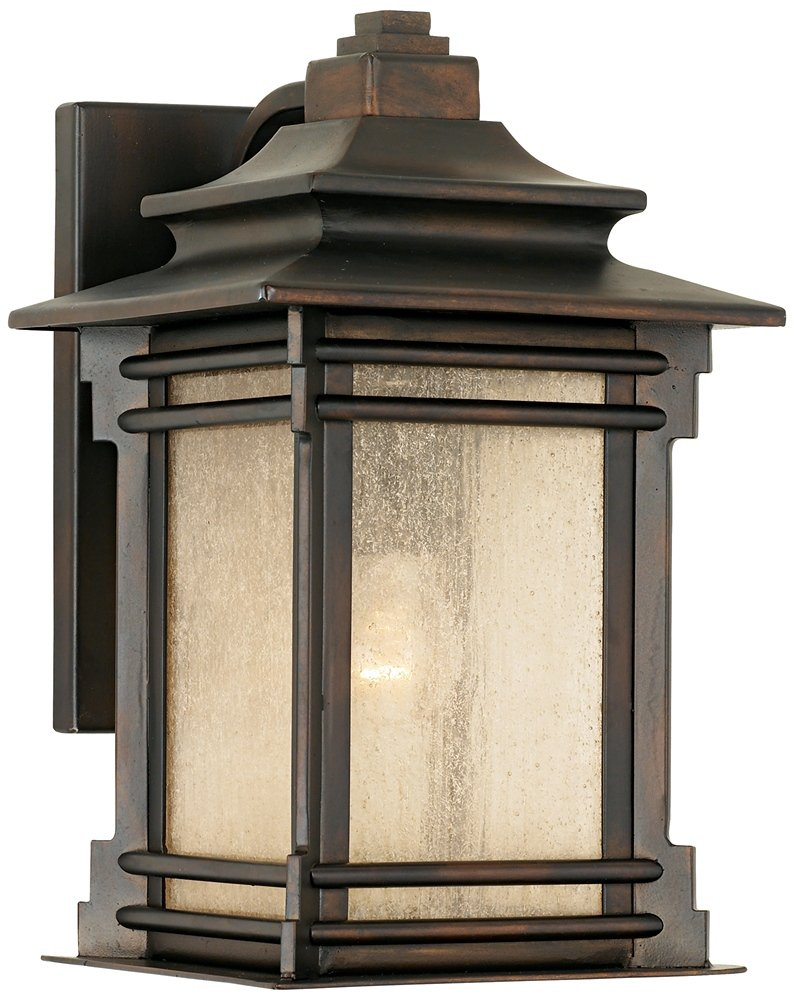 "Hickory Point 12"" High Walnut Bronze Outdoor Wall Light - 12"" high x 7 1/2"" wide. Extends 9 1/4"" from the wall. Backplate is 9"" high x 5"" wide. Weighs 7.37 lbs. Uses one maximum 60 watt standard base bulb (incandescent, LED, or CFL). Bulb not included. Outdoor rustic farmhouse wall light from the Hickory Point collection by Franklin Iron Works™. - patio, outdoor-lights, outdoor-decor - 61h4kGxdDUL -"
