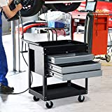 New MTN-G Rolling 3 Drawer Utility Tool Cart Tray Storage Workshop Garage Shelf w/ Locks-black