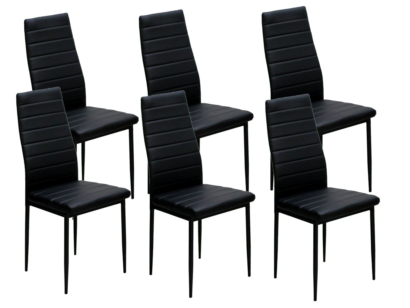 IDS Online 6 PCS Set Modern Style PU Leather Dining Side Chair with Foot Pad Black