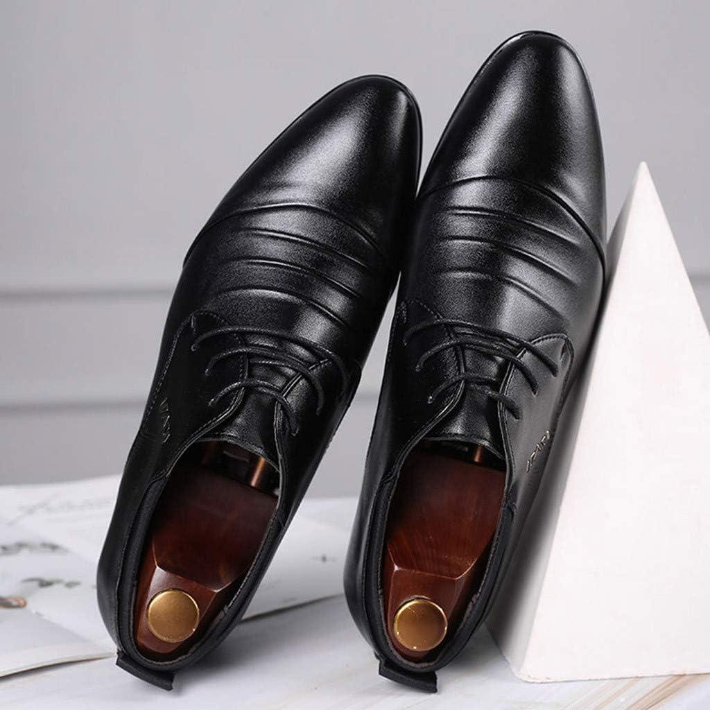 FNKDOR Schuhe Gro/ßformat(38-47) Herren Spitz Gesch/äft Lederschuhe Schn/ürsenkel Knittern M/änner Berufsschuhe Freizeit Kleid Schuhe Hochzeitsschuhe