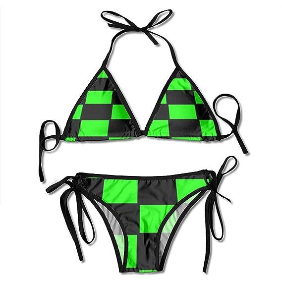 Bikinis, Traje De Baño De Ajedrez De Piso Verde Negro Conjuntos De ...