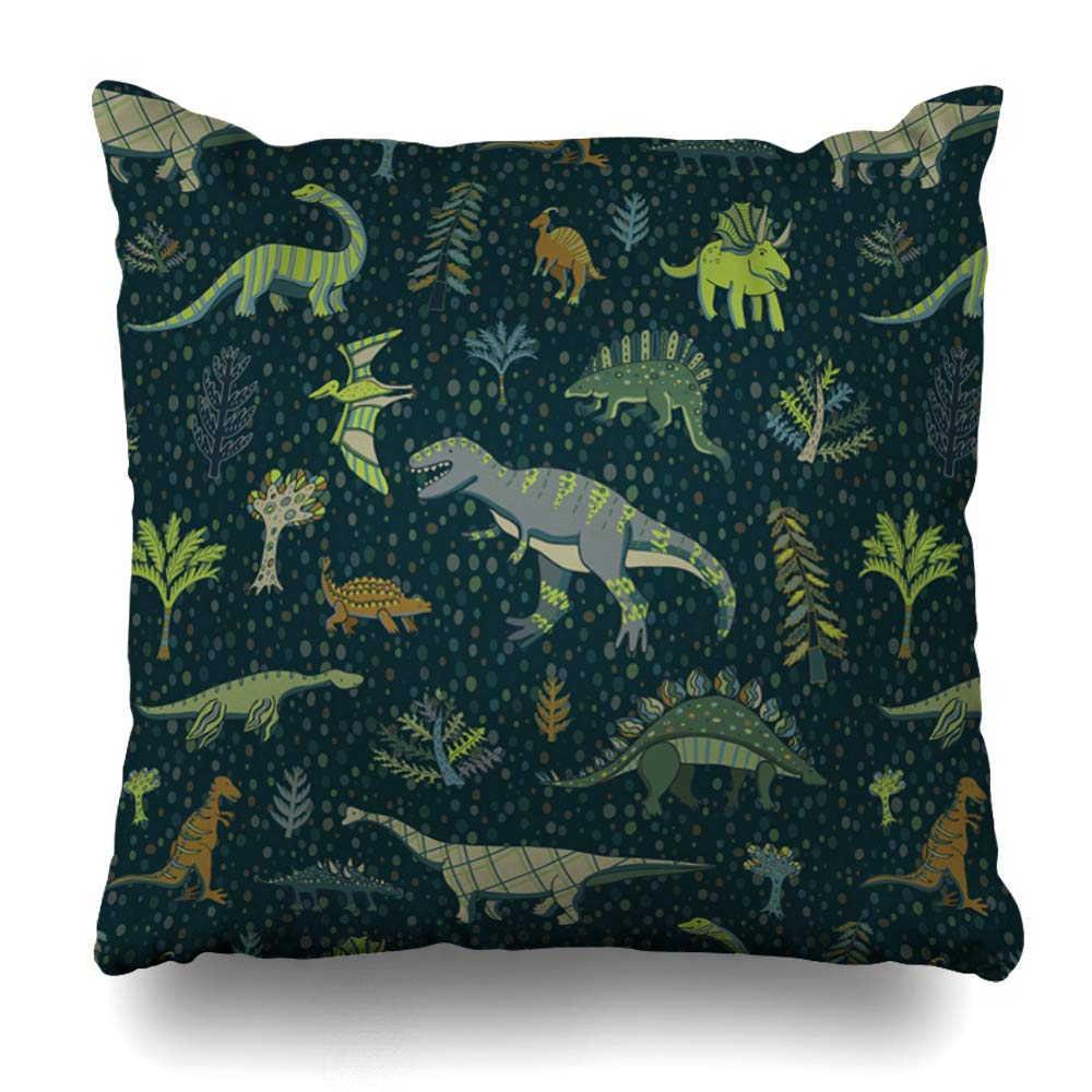 Ahawoso Throw Pillow Cover Square 16x16 Inches Dragon Fun Dinosaur Pattern Animals Set Wildlife Paper Pets Design Nature Past Drawing Triceratops Decorative Pillowcase Home Decor Cushion Pillow Case