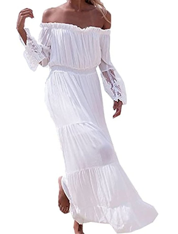 Damen Kleider Strandkleid ININUK Lang Spitze Partykleid Elegant ...