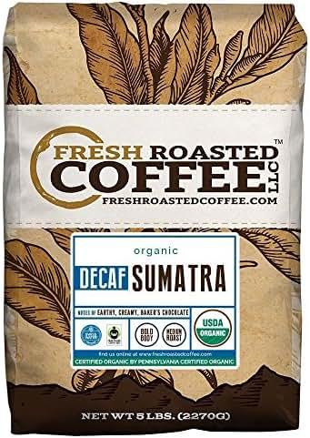 Sumatra Decaf Organic Fair Trade Coffee, Whole Bean, Mountain Water Processed Decaf Coffee, Fresh Roasted Coffee LLC. (5 lb.)