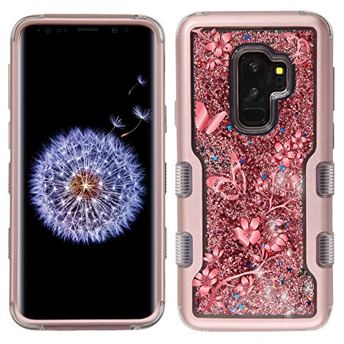TUFF Series Liquid Glitter Flowing Quicksand Waterfall Hard-Shell TPU Silicone Inner Core Hybrid Case (Butterfly Vines/Rose Gold) and Atom Cloth for Samsung Galaxy S9+ Plus