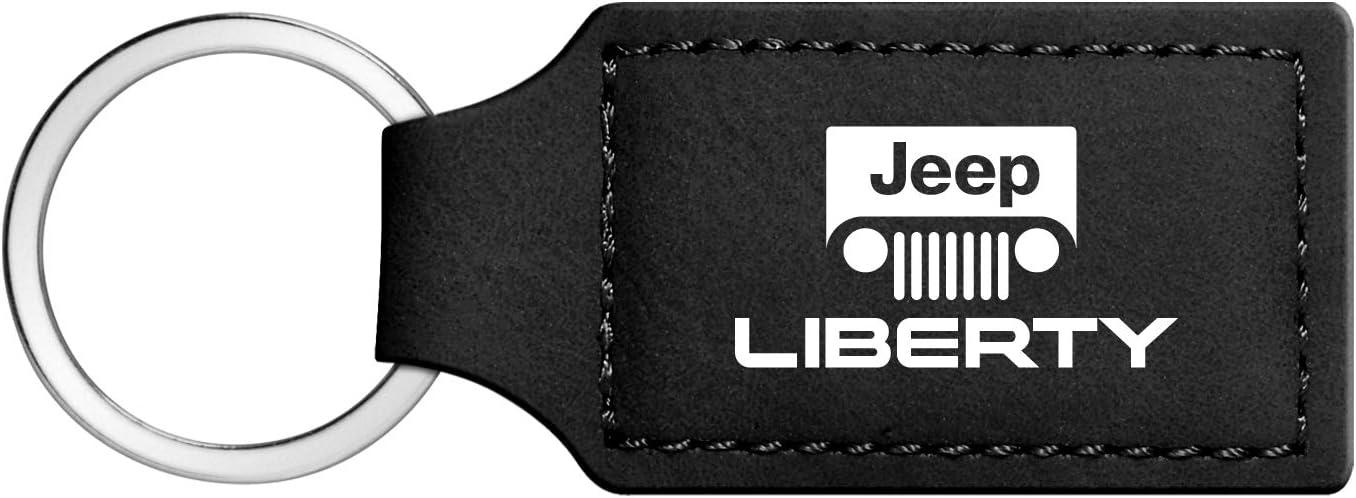 Jeep Liberty Rectangular Black Leather Key Chain iPick Image