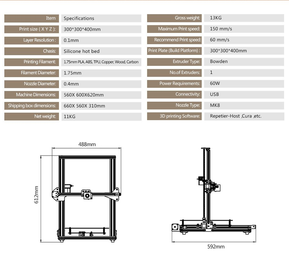 Impresora 3D de Tevo, completamente montada, impresión 300 x 300 x ...