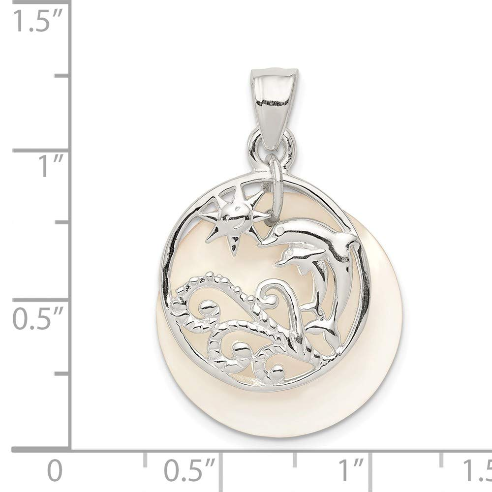 Sterling Silver Moveable Dolphin and Waves Mother of Pearl Charm Pendant