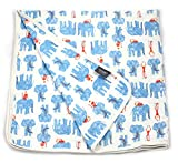 Viverano Organic Cotton Soft Reversible Baby Blanket. Natural Receiving Blankets (Blue Elephants & Monkeys)
