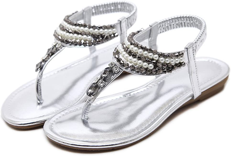 Flat Sandals Women Bohemia Shoes Woman Crystal String Bead Flip Flops T-Strap