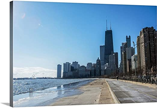 "CHICAGO SKYLINE Evening Lights Painting Giclee Canvas 16/""x20/"" by the Artist"