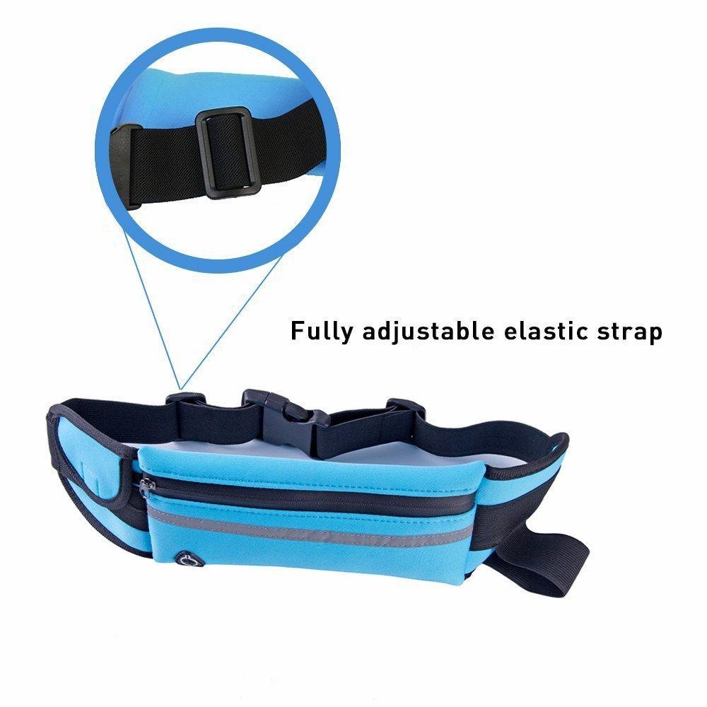 Outdoor Fanny Pack Sport Waist Belt Headphone Hole KLOLKUTTA Light Running Belt Waist Pack Bag with Zipped Pocket Adjustable Belt for Phone Men Women in Workout Vacation Hiking Gym HY