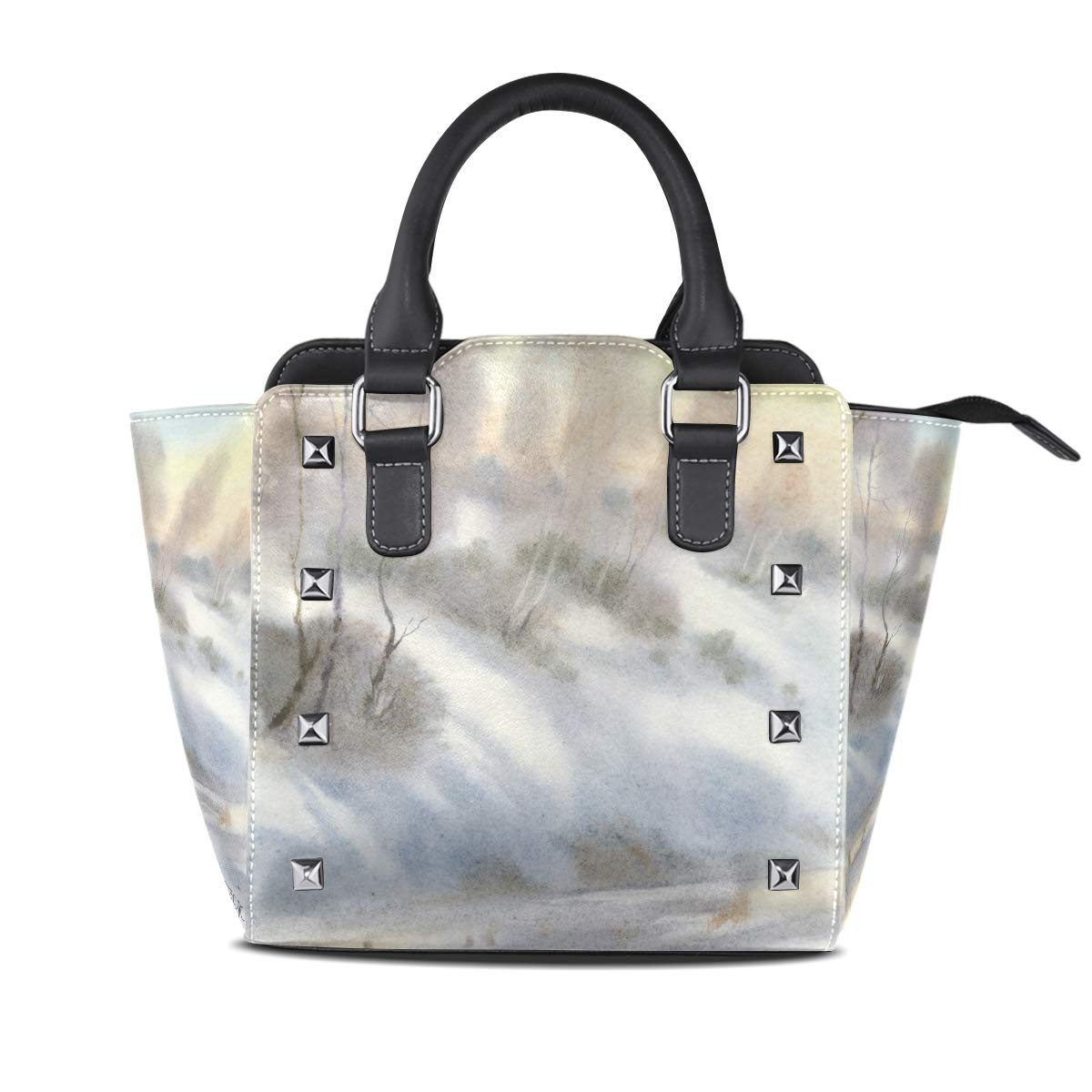 Design4 Handbag Elephant And Balloon Genuine Leather Tote Rivet Bag Shoulder Strap Top Handle Women
