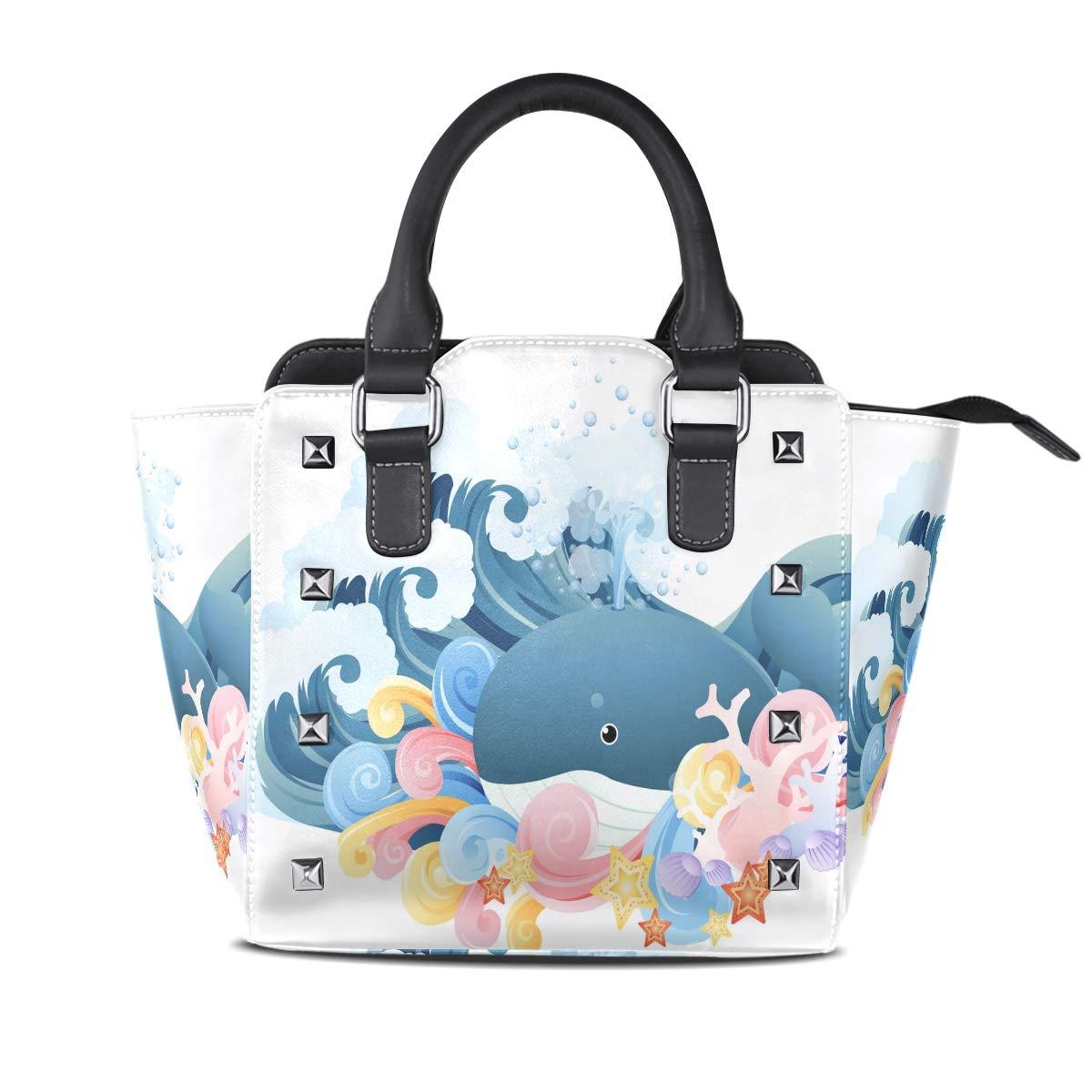 Design4 Handbag Flamingo Shell Sun Genuine Leather Tote Rivet Bag Shoulder Strap Top Handle Women