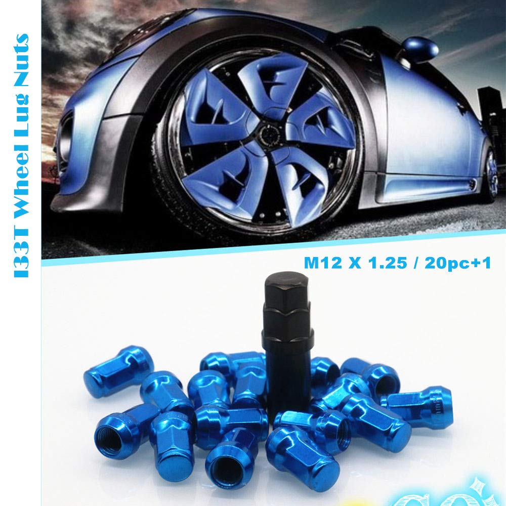 Open End Lug Nut Set Universal Auto Blue M12x1.25 Lug Nut 20 Pcs Length 32mm with 1 Key I33T Wheel Lug Nuts 12x1.25