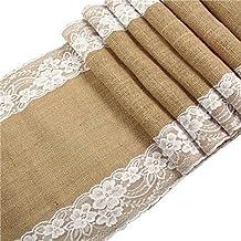 YUYUGO Table Runner Burlap Natural Jute Imitated Linen Rustic Decor Wedding Hessian Tablecloth Party