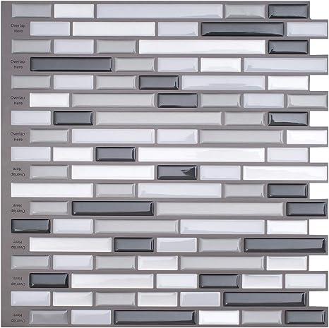 6 Stück Mosaik Fliesen Wandaufkleber Küche Bad Fliesenfolie Klebefolie 30*30cm