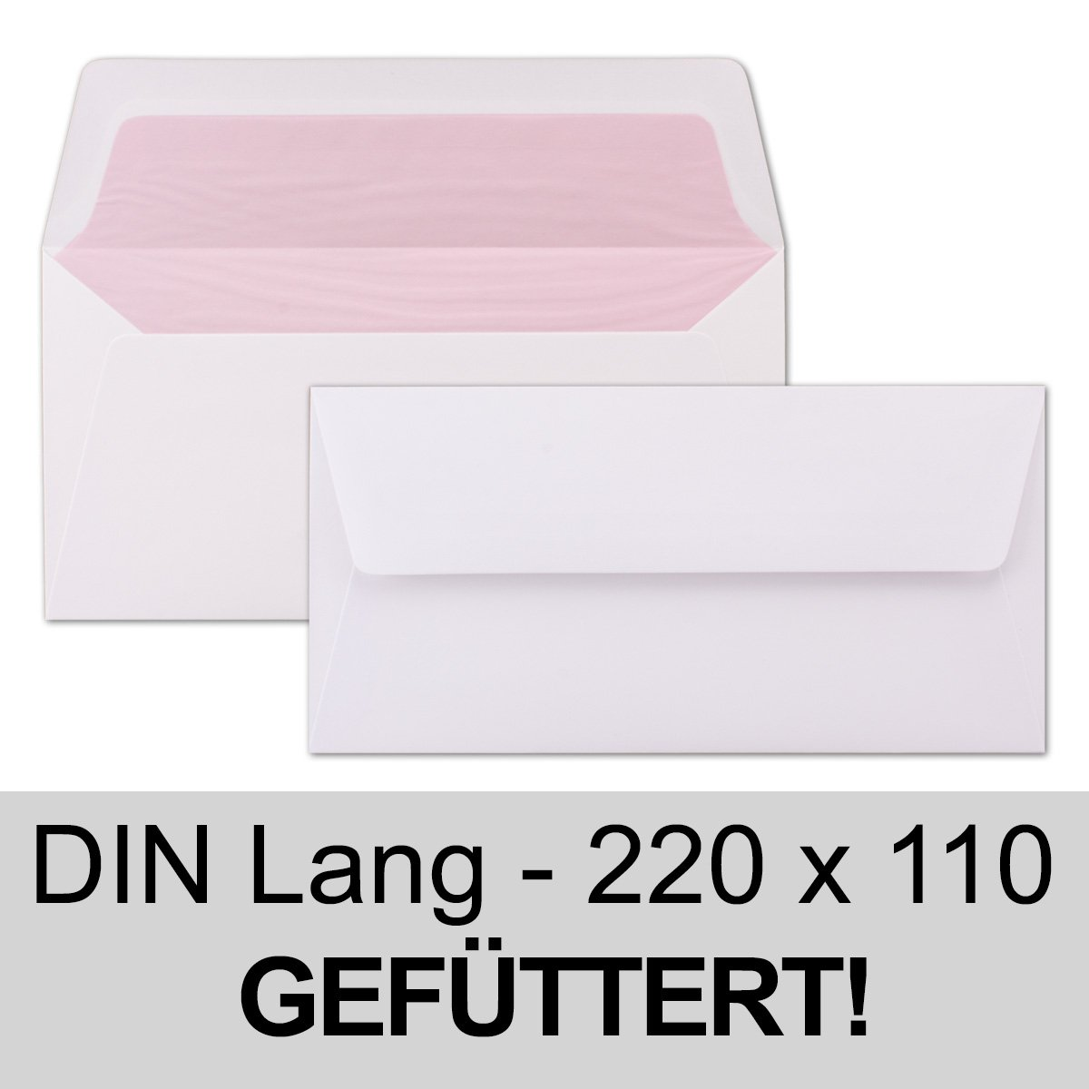 Envelopes White DL - Lined with Pink Tissue Paper - 100 g/m²; 220 x ...