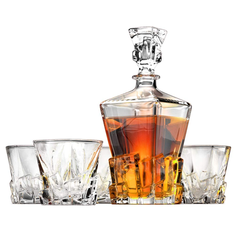 Iceberg Whiskey Decanter and Whiskey Glasses Set by Ashcroft Fine Glassware. 5 Piece Set.