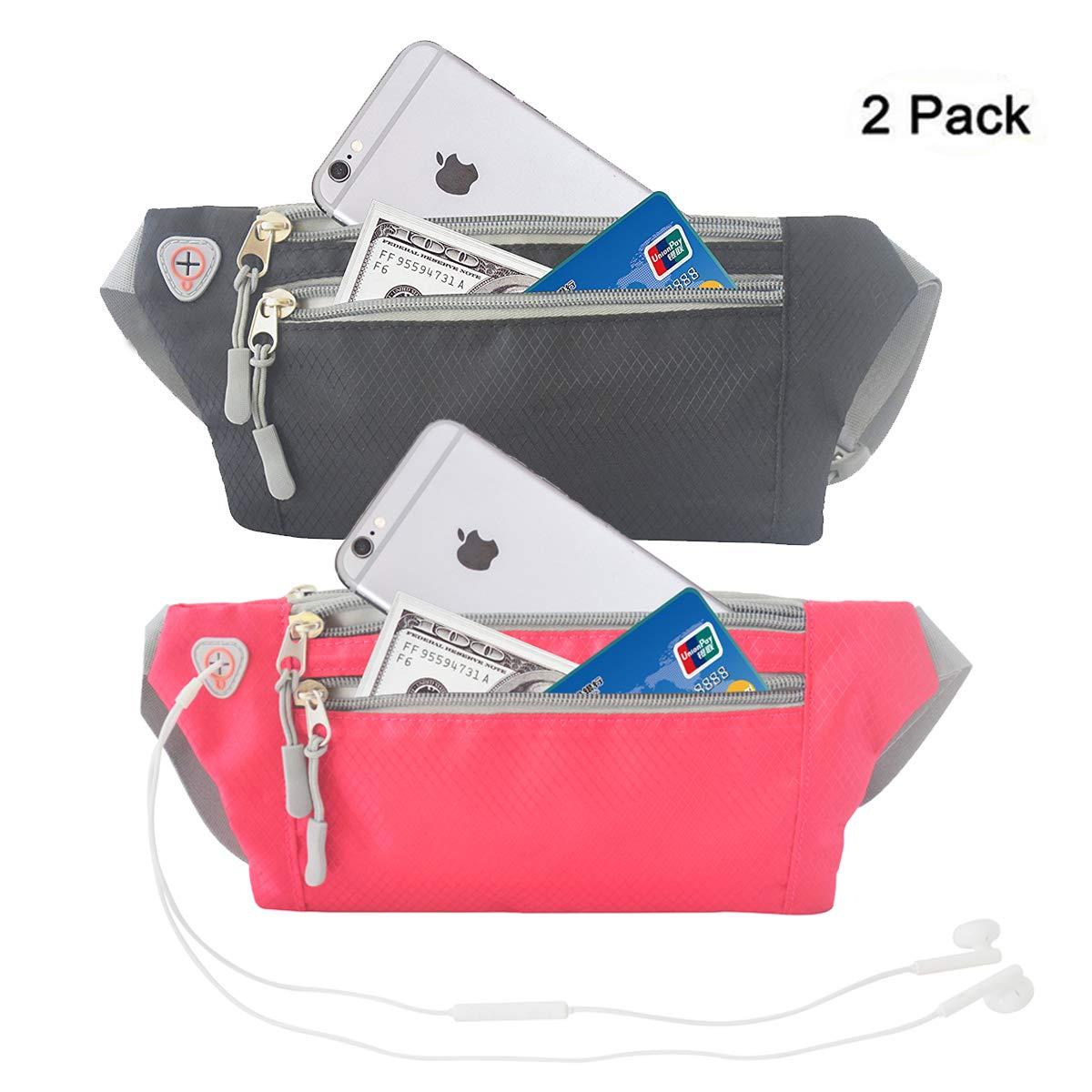 veriya Waist Pack Bum Bag,Waterproof Waistpack Lightweight Fanny Pack Bag with Headphone Jack for Running Hiking Cycling Dog Walking 5.5'' smartphoe Money Coins Keys Passport Holder (Black Fuschia)