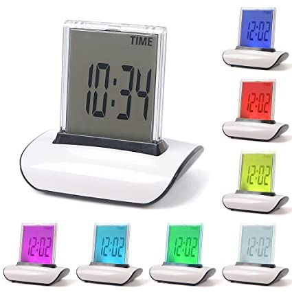 Funwill - Reloj Despertador Digital con 7 ledes, Cambio de Color con Temperatura, Alarma