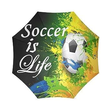 Enne paraguas fútbol es vida plegable compacto viaje paraguas lluvia viento fácil llevar