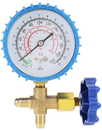 Air Conditioning Refrigerant Recharge Pressure Gauge Manometer Blue Color Fit for R410A R22 R134A R404A