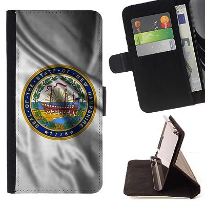 FJCases New Hampshire The Granite State Bandera Ondeante con Emblema Carcasa Funda Billetera con Ranuras para Tarjetas y Soporte Plegable para Motorola Moto X4