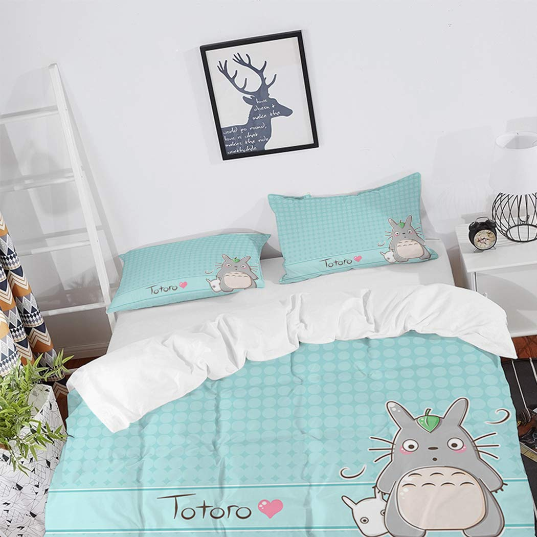 ARL HOME Duvet Covers 3PC Full Size Cartoon Totoro Anime Bedding Set with 2 Pillowcases Cute Totoro Quilts Cover for Teen Kid's Children Adult Gift Bed Set (Mint Green)