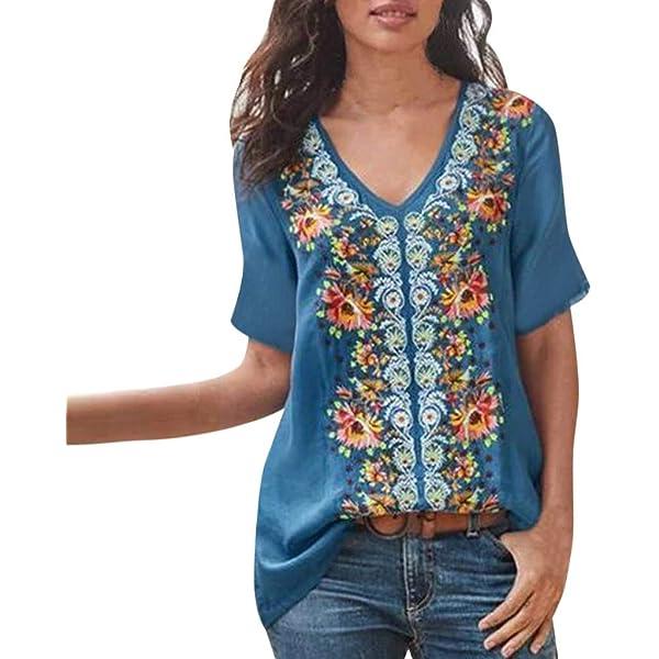 ღLILICATღ Camisa para Mujer Botón De Moda Tops con Cuello En V ...
