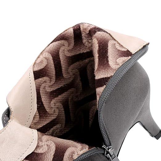 ❤ Botas de Invierno Mujer tacón Alto, Zapatos de Gamuza Punta de Las Mujeres Hebilla de la Correa de Tacones Altos Cremallera Botines: Amazon.es: Ropa y ...