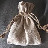 """Linen Wedding Favor Gift Bags with Jute Drawstring, 12-pack (3"""" x 4"""") by Party Spin"""
