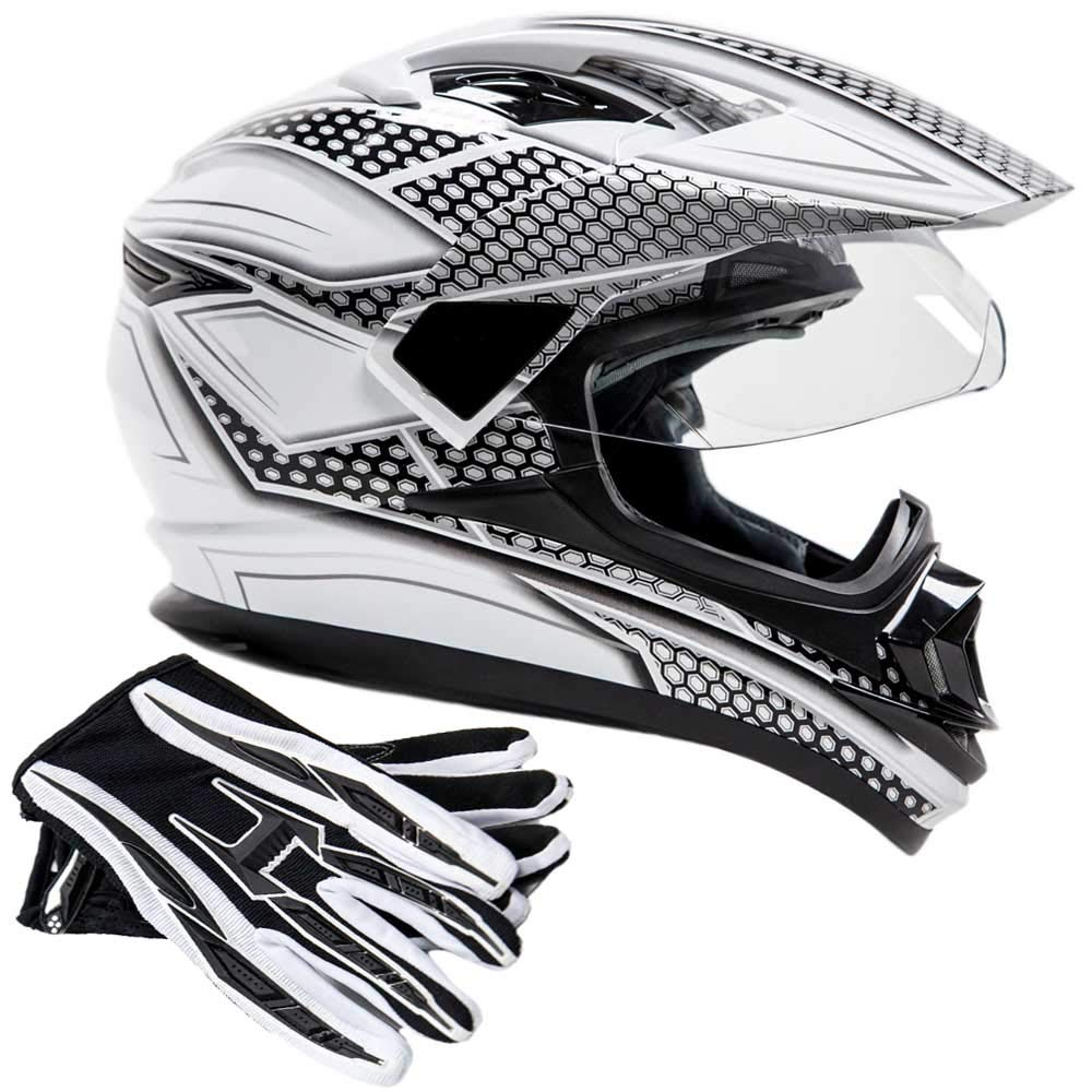 Dual Sport Helmet Combo w/Gloves - Off Road Motocross UTV ATV Motorcycle Enduro - Silver, Black - Small