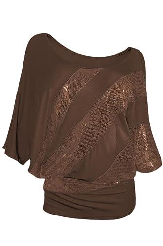 Las Mujeres Elegantes De Un Hombro Sequince Patchwork Top Camiseta Blusa