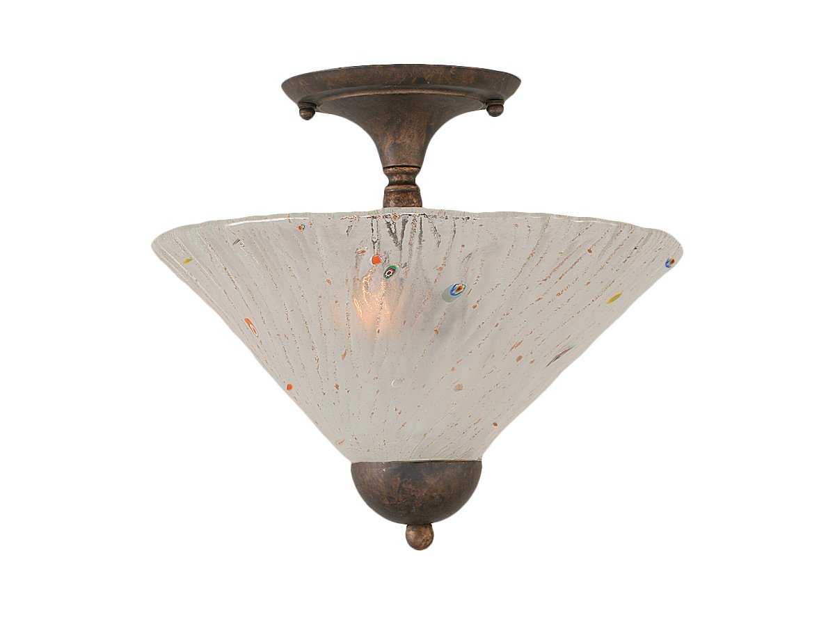 Toltec Lighting 120-BRZ-701 Two-Bulb Semi-Flush Mount Bronze Finish with Frosted Crystal Glass Shade, 12-Inch