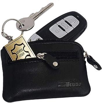Estuche de piel para llaves con 2 llaveros y compartimento para monedas, color negro: Amazon.es: Equipaje
