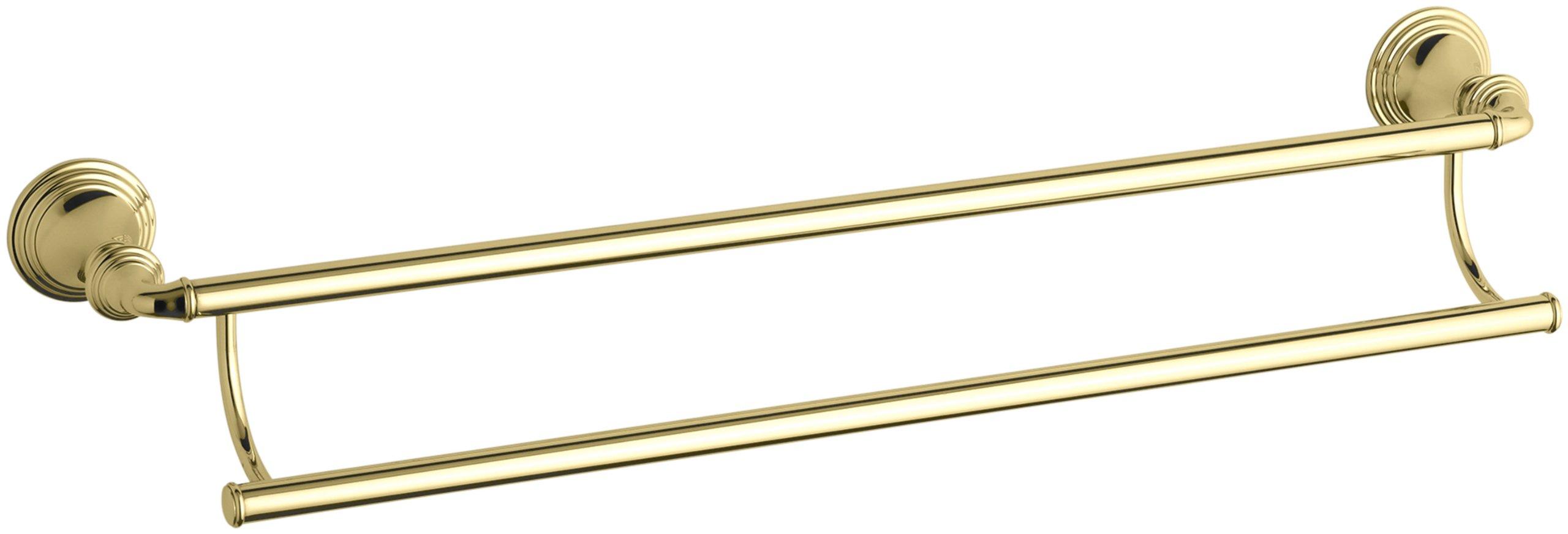 KOHLER K-10553-PB Devonshire 24-Inch Double Towel Bar, Vibrant Polished Brass