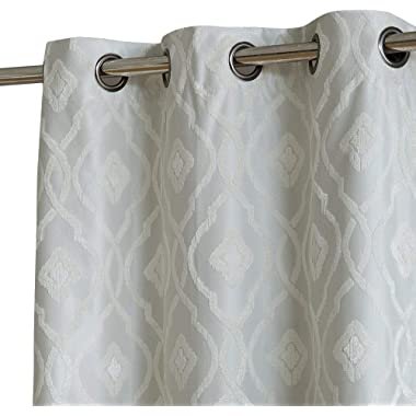 HLC.ME Trellis Flocked 100% Blackout Thermal Window Curtain Grommet Panels - Energy Efficient, Complete Darkness, Noise Reducing - Great for Living Rooms & Bedrooms - Set of 2 (37  W x 63  L, Ivory)