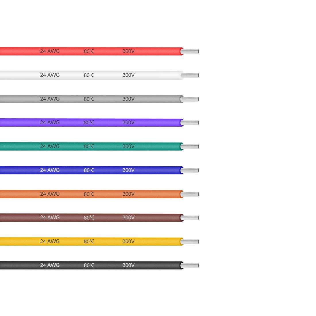 sourcing map Fil /électrique PVC 16 AWG /étam/é cuivre Semi-rigide C/âble raccorde 16ft Noir