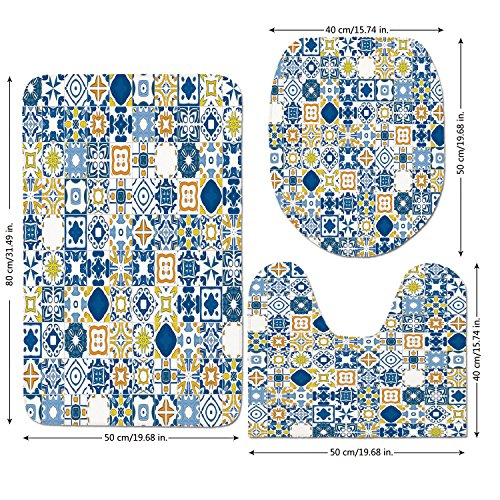 3 Piece Bathroom Mat Set,Yellow and Blue,Mosaic Portuguese Azulejo Mediterranean Arabesque Effect Decorative,Violet Blue Mustard White,Bath Mat,Bathroom Carpet (Mediterranean Blue Mosaic)