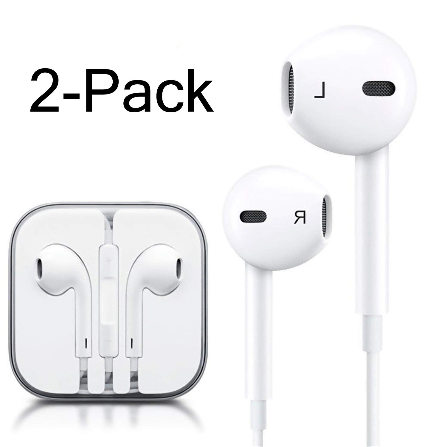 iPhone Headphones Ear Buds with Mic Remote Volume Control Earphone Headset Compatible iPhone 6s 6 5s Se 5 5c 4s Plus iPod iPad White (2-Pack)