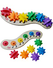 Sanwooden Interesting Toy Gear Toy Wooden Caterpillar Board 6 Color Interchangeable Gears DIY Intelligent Kids Toy Toys for All Ages