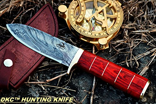 DKC Knives (12 5/18) DKC-723 Trinity Damascus Steel Bowie Hunting Handmade Knife Fixed Blade 11 oz 10