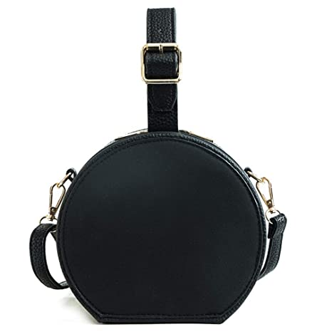 EKLCD Vintage Circular Women Shoulder Bag Matte Leather Women s Crossbody  Messenger Bags Female Round Handbag Black