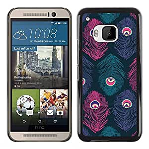 Paccase / SLIM PC / Aliminium Casa Carcasa Funda Case Cover para - Feather Eye Teal Pastel Colors - HTC One M9
